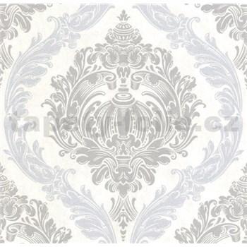 Luxusné vliesové tapety na stenu CARAT ornamentálny zámocký vzor sivo strieborný s trblietkami