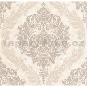 Luxusné vliesové tapety na stenu CARAT ornamentálny zámocký vzor svetlo hnedý s trblietkami