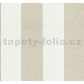 Vliesové tapety na stenu Casual Chic pruhy hnedo-biele