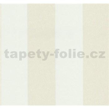 Vliesové tapety na stenu Casual Chic pruhy bielo-béžové