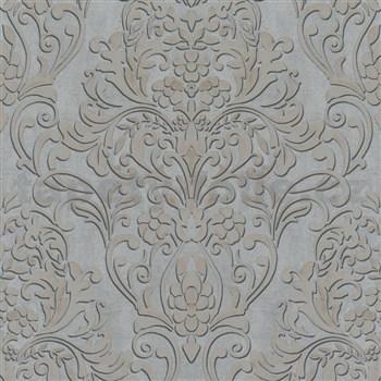 Vliesové tapety IMPOL City Glam zámocký vzor zlatý s metalickým odleskom na sivom podklade