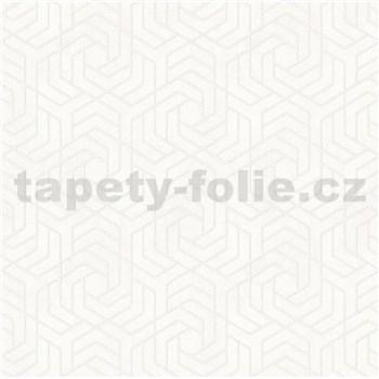 Vliesové tapety IMPOL City Glam geometrický vzor biely s metalickými odleskami