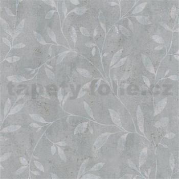Vliesové tapety IMPOL City Glam popínavé vetvičky sivé na tmavo sivom betóne