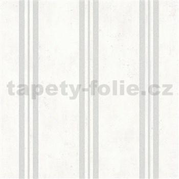 Vliesové tapety IMPOL City Glam betón biely s pruhami s trblietkami
