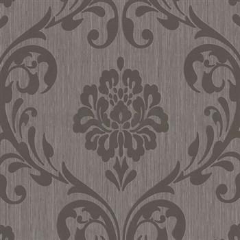 Vliesové tapety na stenu Classico zámocký vzor tmavo hnedý