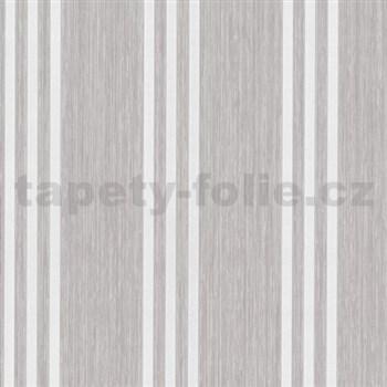 Vliesové tapety na stenu Classico pruhy smotanové na hnedom podklade