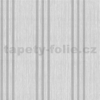 Vliesové tapety na stenu Classico pruhy strieborné na svetlo sivom podklade