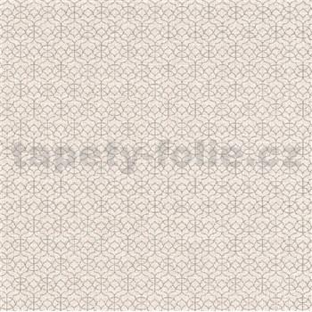 Vliesové tapety na stenu IMPOL Code Nature malé ornamenty niklové na hnedom podklade