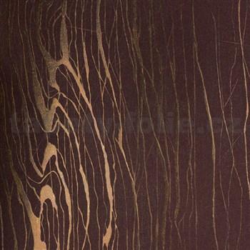 Vliesové tapety na stenu Colani Visions drevo moderné fialové s medenými kontúrami