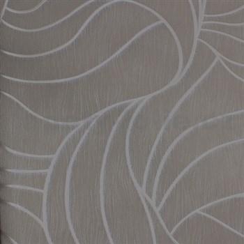 Vliesové tapety na stenu Colani Visions abstraktné listy sivé so striebornou kontúrou