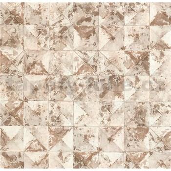 Vliesové tapety na stenu Collage 3D obklad hnedý