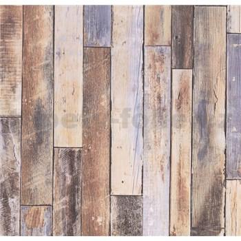 Vliesové tapety na stenu Collage drevená stena hnedo-modrá