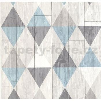Vliesové tapety na stenu Collage retro drevené dosky tyrkysovo-hnedé