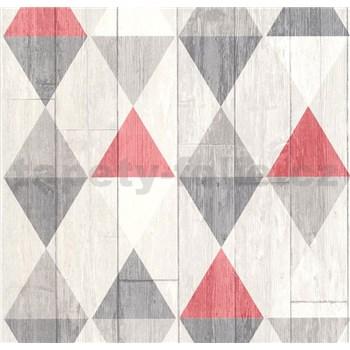 Vliesové tapety na stenu Collage retro drevené dosky červeno-sivé