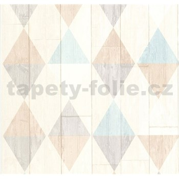 Vliesové tapety na stenu Collage retro drevené dosky svetle tyrkysovo-hnedé