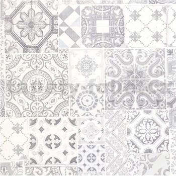 Vliesové tapety na stenu Collage obklad Barcelona sivý