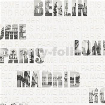 Vliesové  tapety na stenu Collection 2 nápisy miest čierno-biele