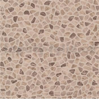 Vinylové tapety na stenu kamenná mozaika hnedá
