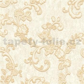 Vliesové tapety na stenu zámocký vzor zlatý na krémovom podklade