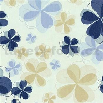 Vliesové tapety na stenu Modern Line kvety modré