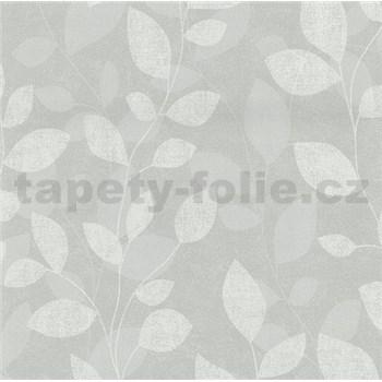 Vliesové tapety na stenu lístky svetlo sivá