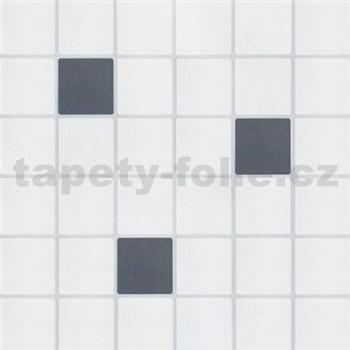 Vinylové tapety na stenu kachličky bielo-sivé se striebornou spárou