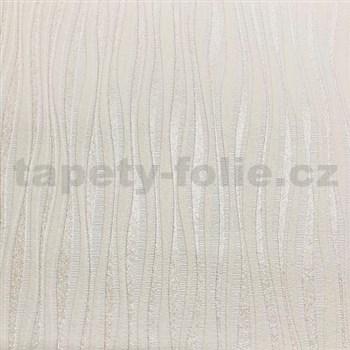 Vliesové tapety na stenu Collection 2 zvislé  strieborné a krémové prúžky