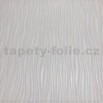 Vliesové tapety na stenu Collection 2 prúžky svislé strieborné, fialkové a biele