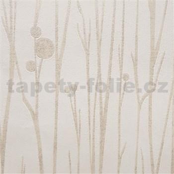 Vliesové tapety na stenu Collection stonky svetlo hnedé s vysokým leskom na bielom podklade