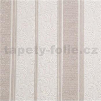 Vinylová tapeta na stenu zámocký vzor hnedý pruhy