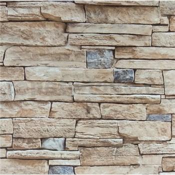 Vliesové tapety na stenu kameň béžovo-sivý