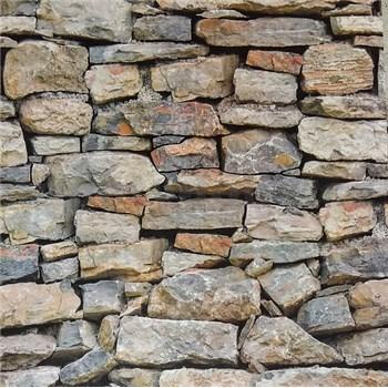 Vliesové tapety na stenu kameň sivo-hnedý