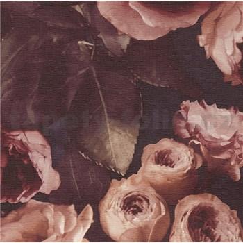 Vinylové tapety na stenu Opus kvetinová kompozícia hnedá na tmavom pozadí