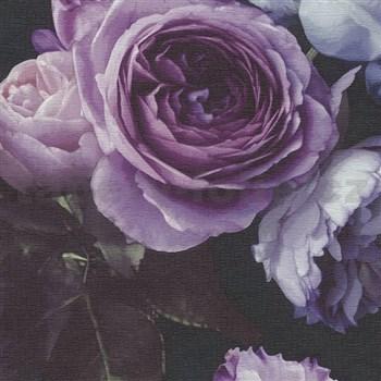 Vinylové tapety na stenu Opus kvetinová kompozícia fialová na tmavom pozadí