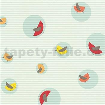 Vliesové tapety na stenu Collection farebné vtáčiky na modrom podklade