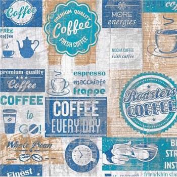 Papierové tapety na stenu retro cofee modré