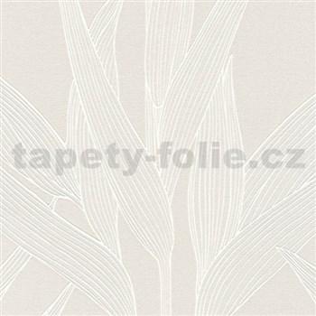 Vliesové tapety na stenu Hygge bambusové listy hnedé so striebornými konturami