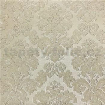 Vliesové tapety na stenu Collection 2 zámocký vzor béžový s lesklým vzorom