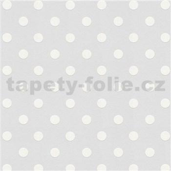 Vliesové tapety IMPOL bodky biele na sivom podklade