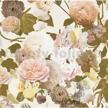 Vliesové tapety na stenu Paradise Garden kvety velké na bielom podklade