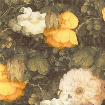 Vliesové tapety na stenu Metropolitan Stories florálny vzor žlto-čierny