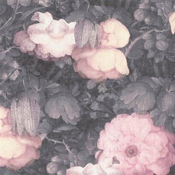 Vliesové tapety na stenu Metropolitan Stories florálny vzor ružovo-čierny