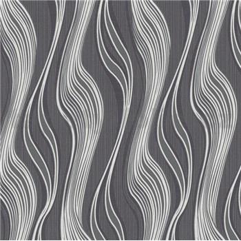 Vliesové tapety na stenu Collection 2 vlnovky čierno-strieborné