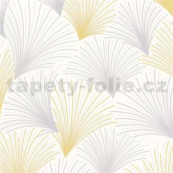 Vliesové tapety na stenu Collection lúčový vzor žlto-sivý na bielom podklade s trblietkami