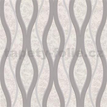 Vliesové tapety na stenu vlnovky sivé