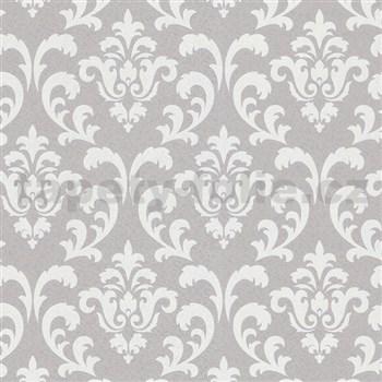 Vliesové tapety na stenu COLLECTION zámocký vzor strieborné na sivom podklade