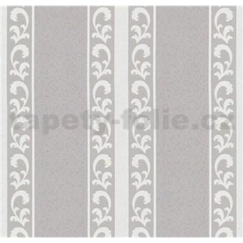 Vliesové tapety na stenu malý zámocký vzor biely v tmavých pruhoch