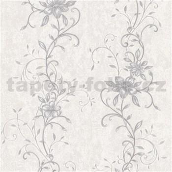 Vliesové tapety na stenu kvetinový vzor sivý so striebornými stonky