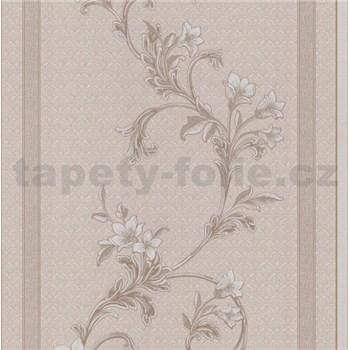 Vliesové tapety na stenu florálny vzor na hnedom vzorovanom podklade