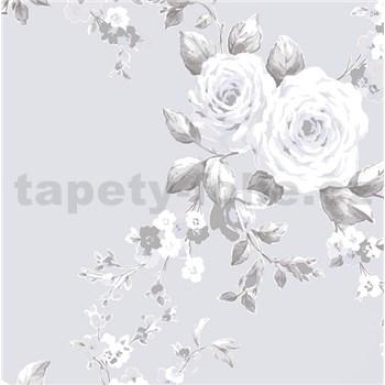 Papierové tapety na stenu Catherine Lansfield ruže na sivom podklade